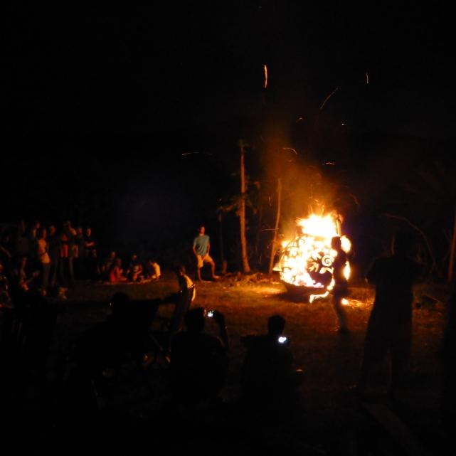 fireball goin off at the pig roast